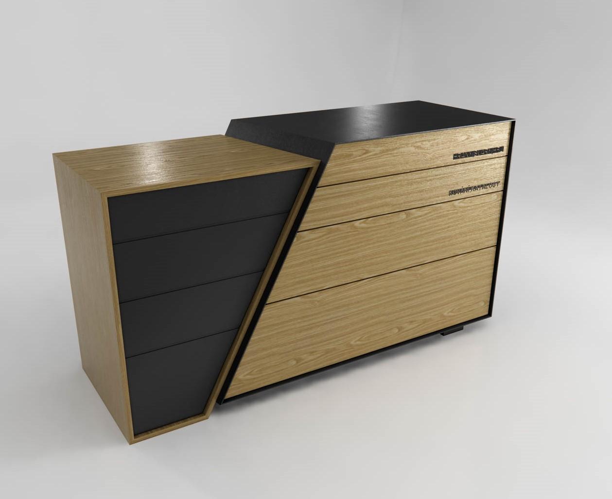Koncept komod, produktový design, dřevo, kov