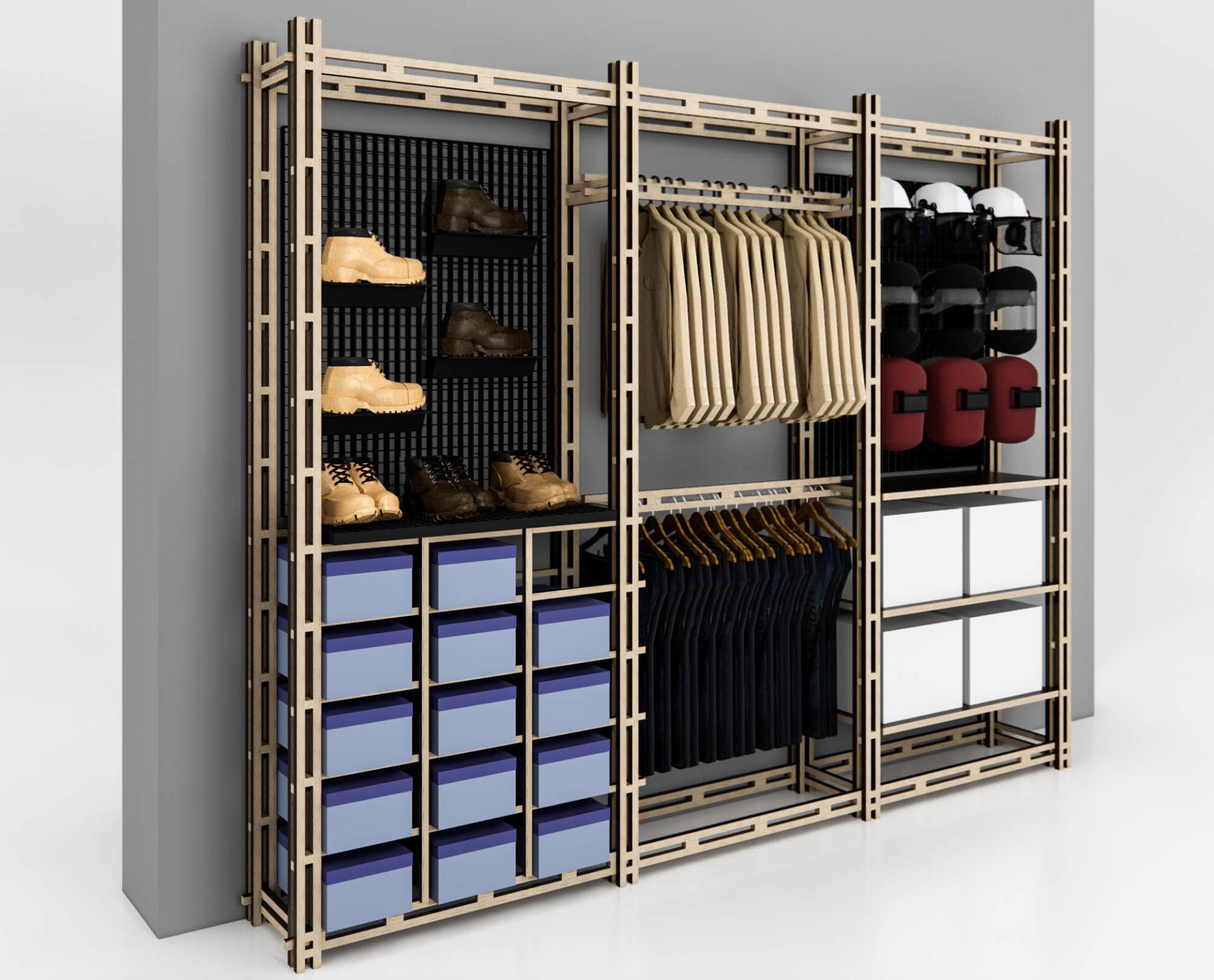Regálový systém, policový systém, modulární, produktový design, instore