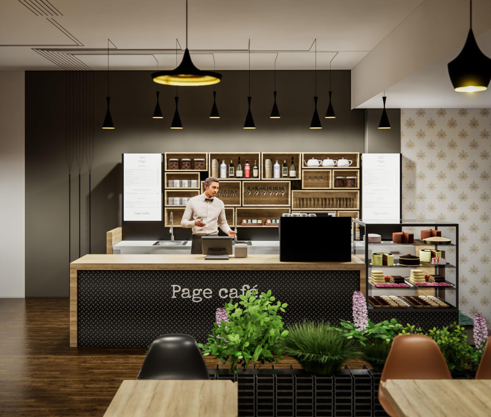 Page Café, kavárna, Praha, návrh interiéru, komerční interiér, architektura, design, produktový design