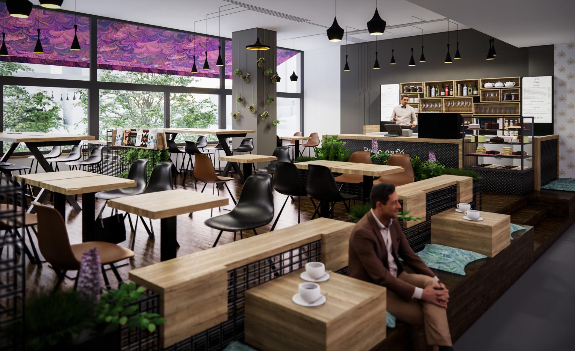 Page Café, Václavské náměstí, návrh nábytku