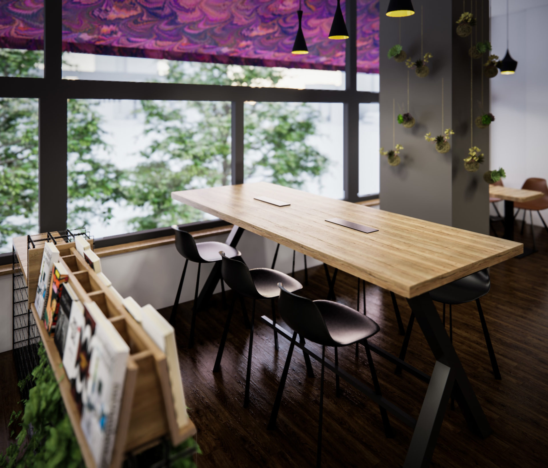 Page Café, návrh komerčního interiérů